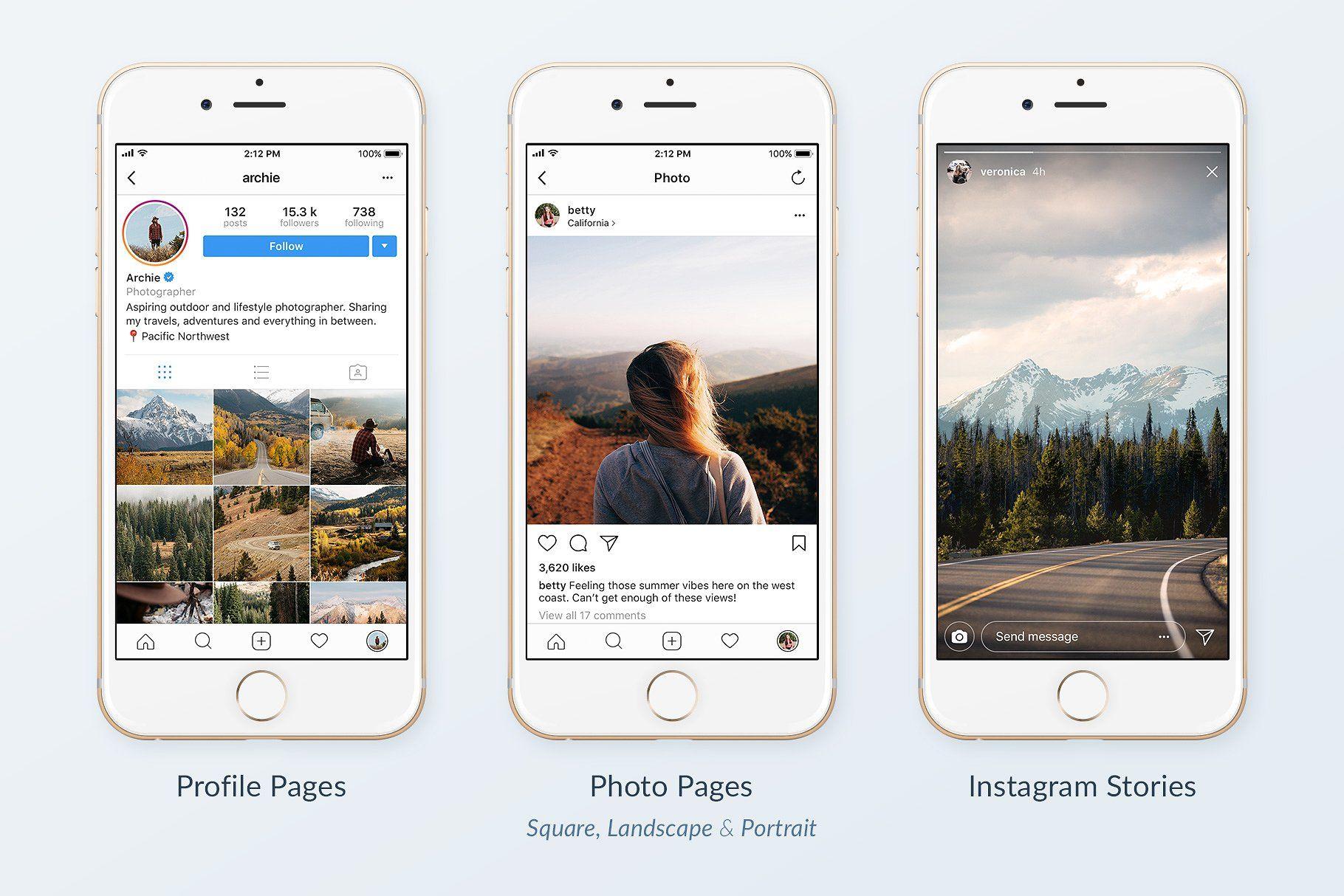Instagram Mobile Mockups Pack Instagram Mockup Instagram Mobile Social Media Template