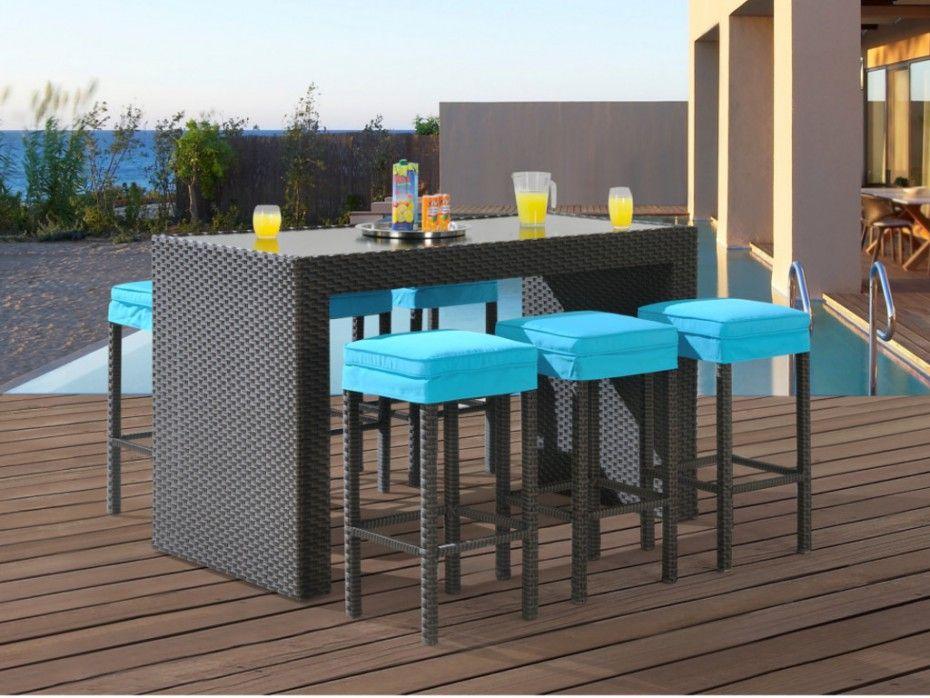 Bar Et 6 Tabourets De Jardin Salina En Resine Tressee Wenge Assise Turquoise Jardins