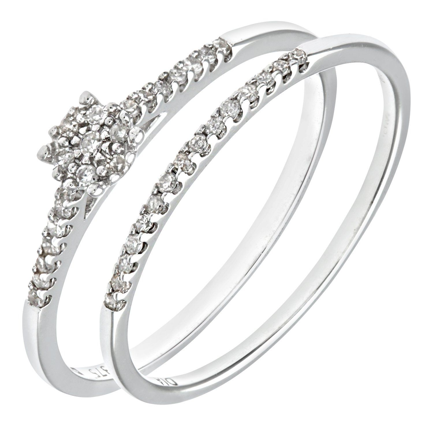 Ariel 9ct White Gold 0 16ct Diamond Bridal Set Ring Amazon