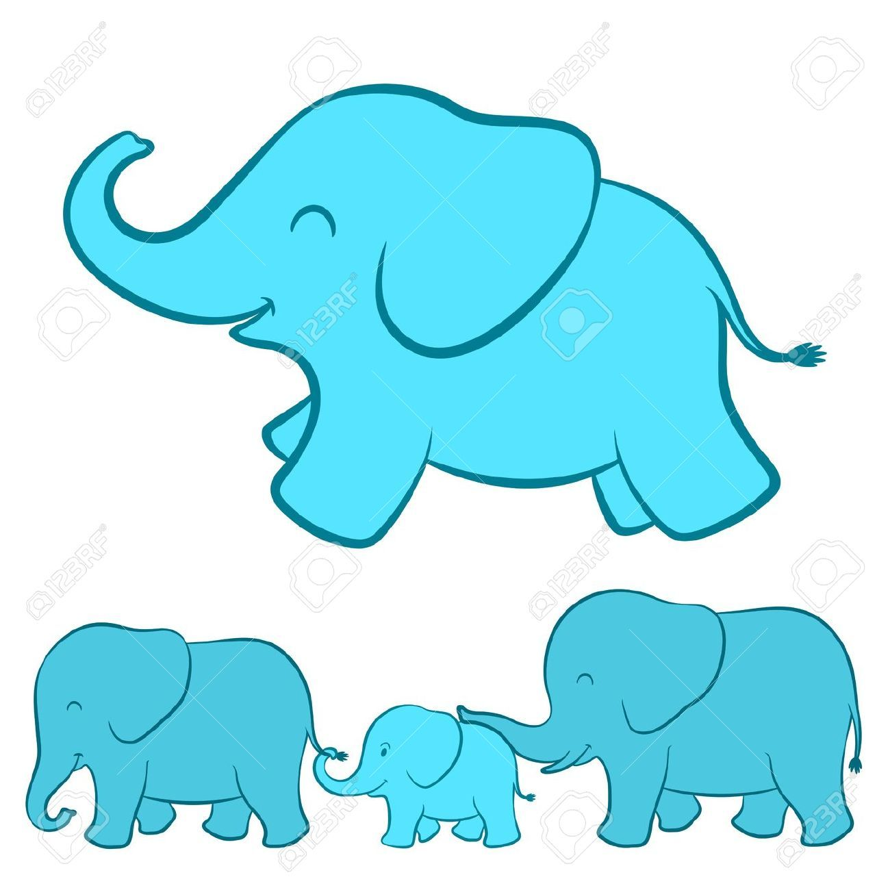 Elephant nursery wall art print mom baby dad by rizzleandrugee - Adorable Cartoon Illustration Of A Happy Playful Baby Blue Ellie With A Complete View Of The Whole Elephant Family Walking In A Line Below Touching Each