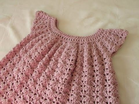 How to crochet a little girl\'s shell stitch dress. top. tunic ...