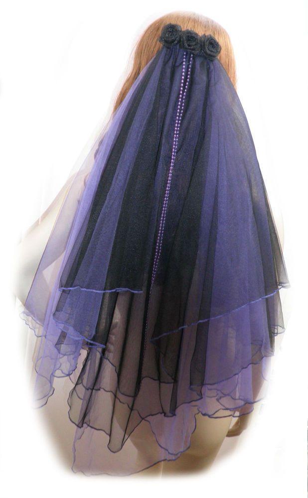 Black Purple Fairytale Bridal Veil Alternate Wedding Veil