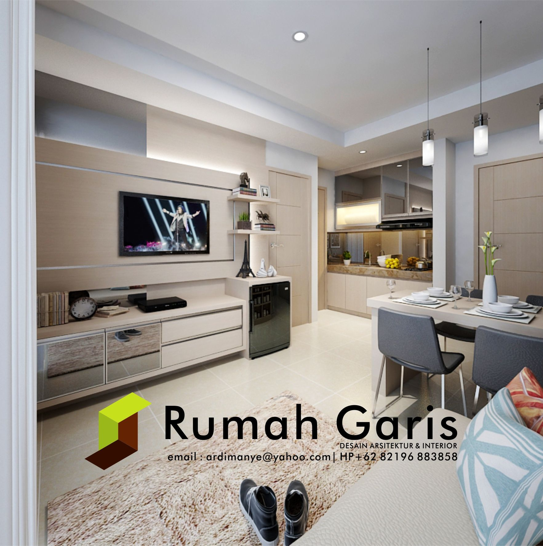 Desain Background Tv Living Room Kitchen Set Interior Apartemen