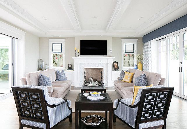 Coastal Living Room. Modern Coastal Living Room with fireplace. beams blue & Living Room. Coastal Living Room. Modern Coastal Living Room with ... Pezcame.Com