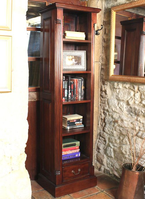 Narrow Alcove Bookcase La Roque Baumhaus Living Room Storage Furniture Storage Furniture Living Room Tall Narrow Bookcase Mahogany Furniture