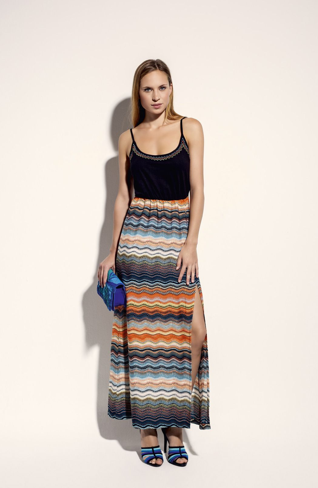 Vestido largo estampado etnico