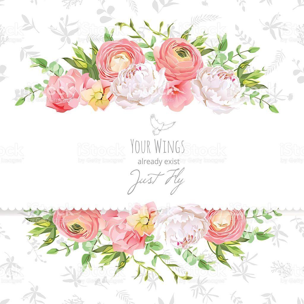 Bright Ranunculus Peony Rose Carnation Green Plants Horizontal Floral Texture Flower Designs Peonies