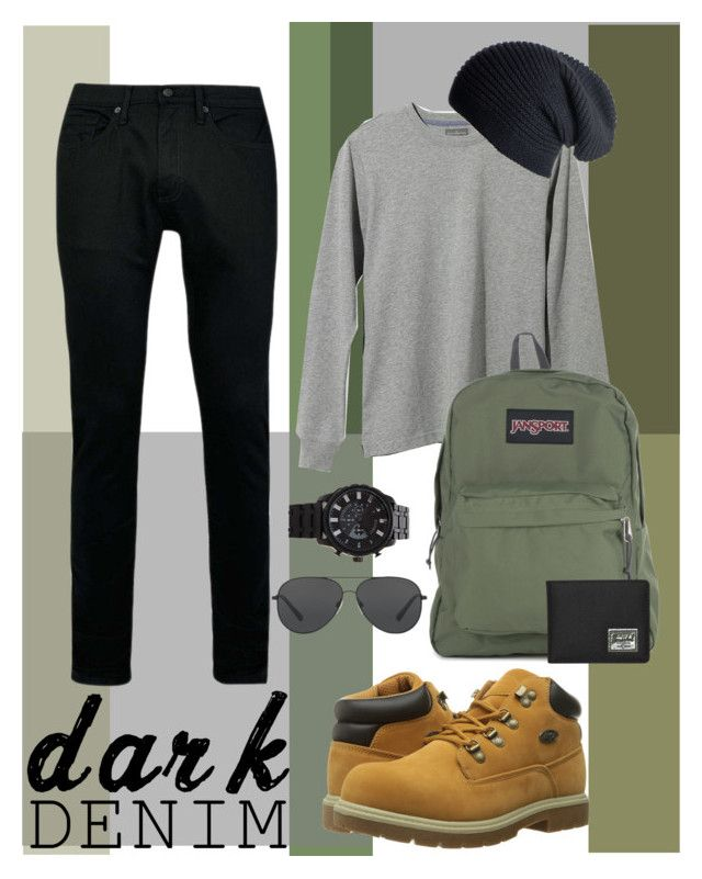 """Dark Denim: College"" by hannah-ostiguy-hopp ❤ liked on Polyvore featuring Lugz, L.L.Bean, Topman, JanSport, Michael Kors, Black, Forever 21, Herschel Supply Co., men's fashion and menswear"