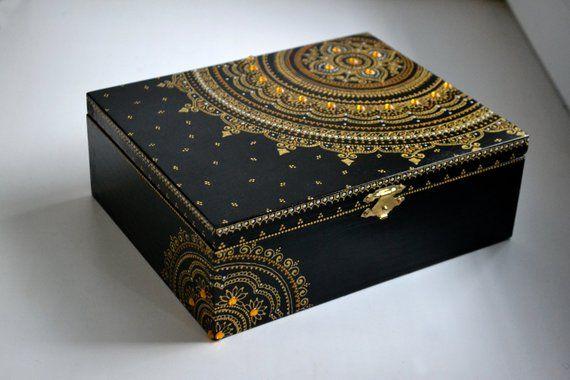 Keepsake box dot painting hand painted wooden box. storage box