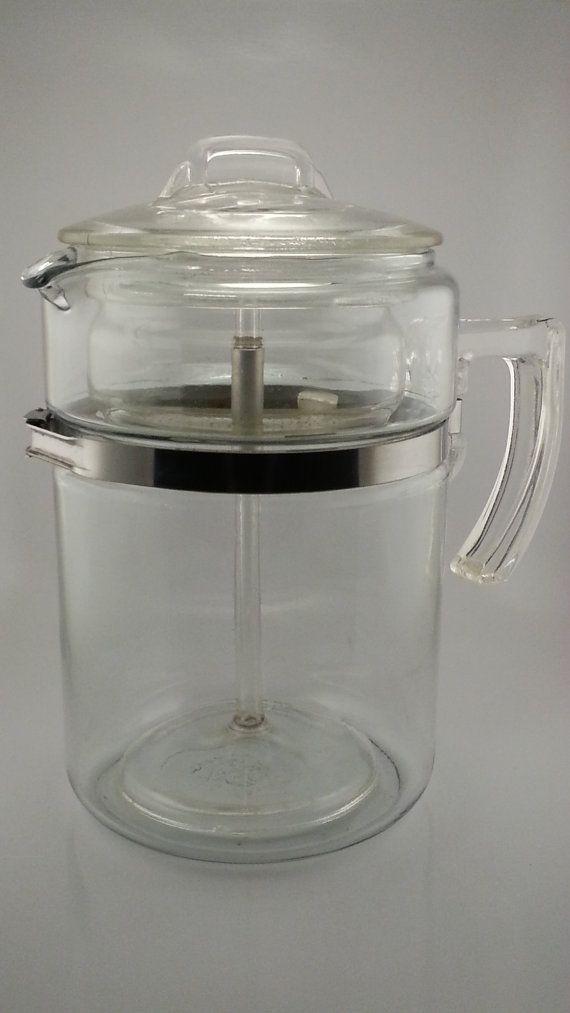1940s Pyrex Flameware 7829b 9 Cup Glass Coffee Pot By Atomicvault 85 00 Vintage Coffee Pot Vintage Dishware Pyrex Vintage