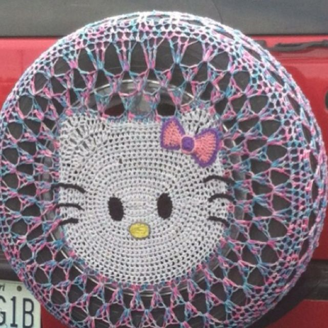 Crochet Hello Kitty Tire Cover 1glamper Tire Covers Pinterest