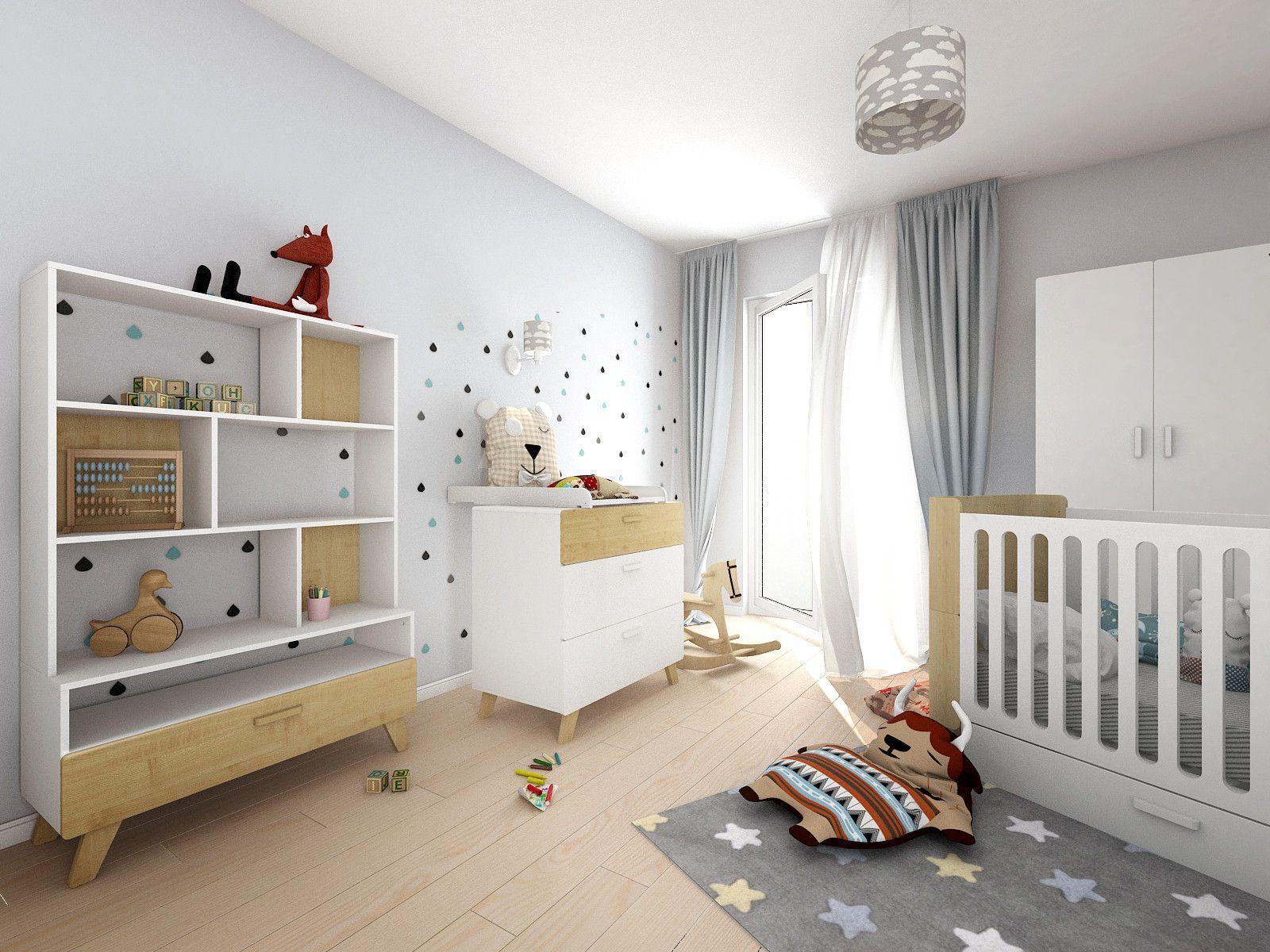 Kinderbett, Wickelkommode und Buchregal haben einen tollen