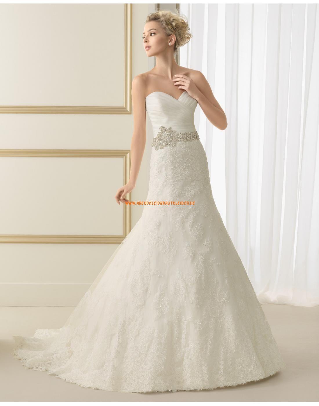 Elegante A-linie Hochzeitskleider aus Spitze mit 3/4 lange Ärmel 167 ...