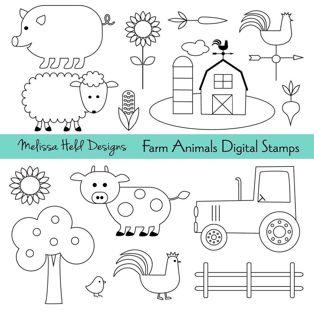 Farm Animals Digital Stamps Digital Stamps Cute Animal Clipart Drawing For Kids