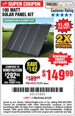 Thunderbolt Magnum Solar 100 Watt Solar Panel Kit For 149 99 In 2020 100 Watt Solar Panel Solar Panel Kits Solar Energy Kits