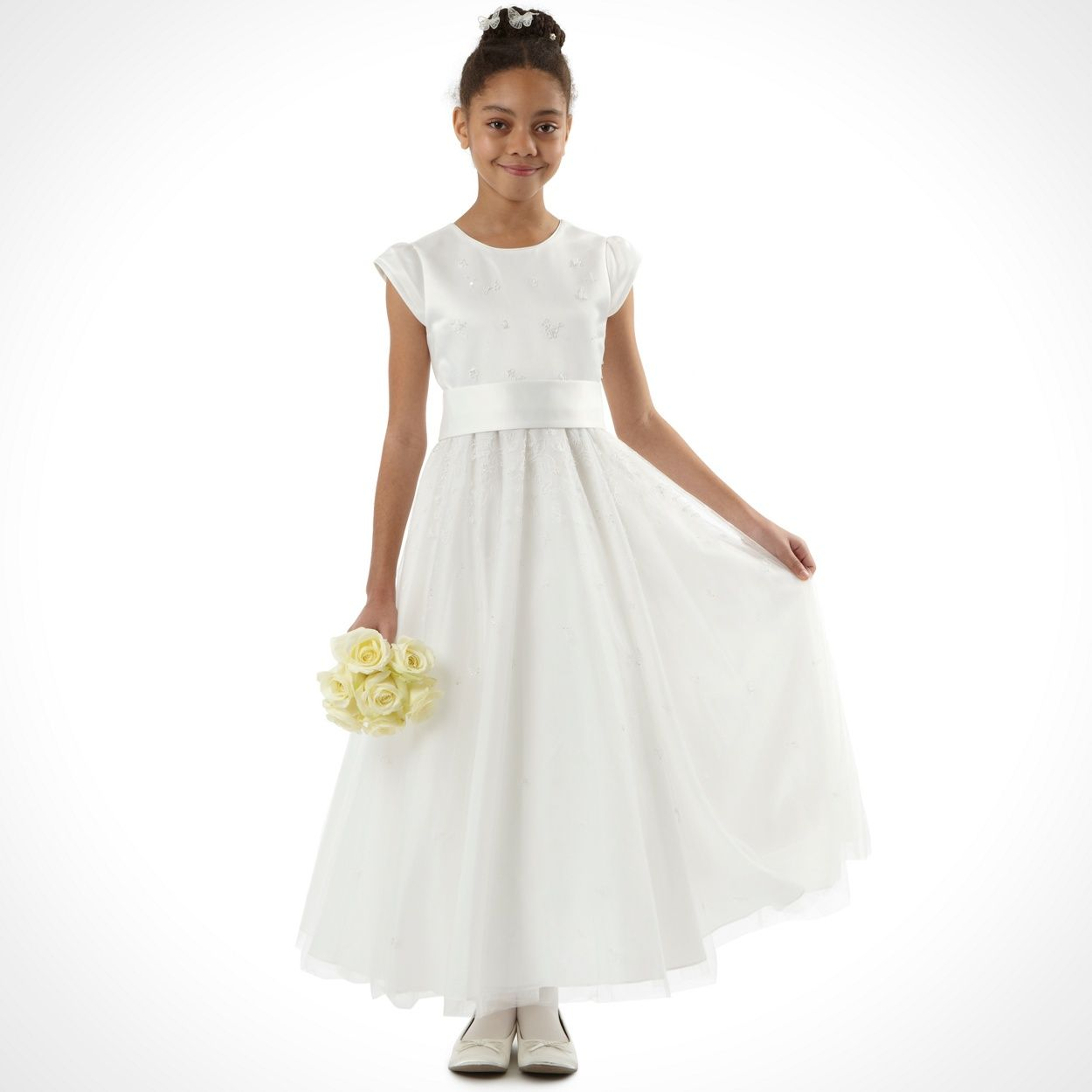 Pearce II Fionda Designer girl\'s ivory embellished mesh dress- at ...