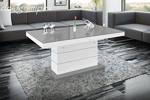 Amazon Wohnzimmertisch ~ Design couchtisch h 333 weiß grau hochglanz höhenverstellbar