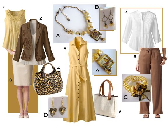 Fashion mood board featuring citrine and tiger eye reversible sunflower necklace