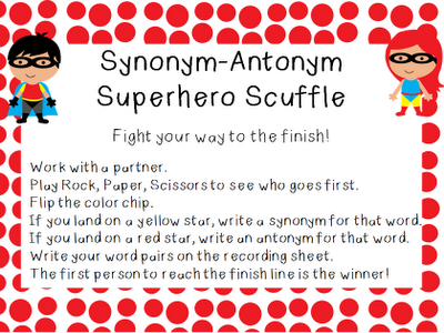 Superhero Scramble Synonyms And Antonyms Thirdgradetroop Com