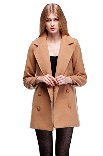 Zeagoo Damen Zweireiher Revers Wollmischung Mantel Warm Outwear
