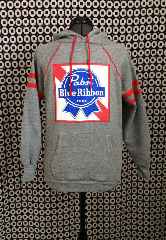Vintage 80s Grey And Red Pabst Blue Ribbon Beer Hooded Sweatshirt