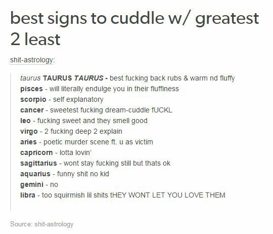 Best to worst signs to cuddle with | Zodiac sign traits