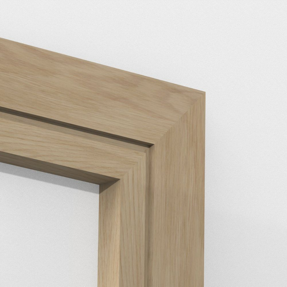 Oak solid square single edge architrave sets from for Modern door trim