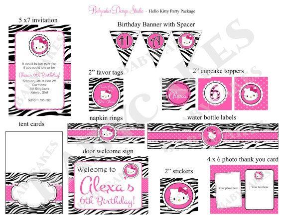 hello kitty zebra print birthday invitation and party package, Birthday invitations