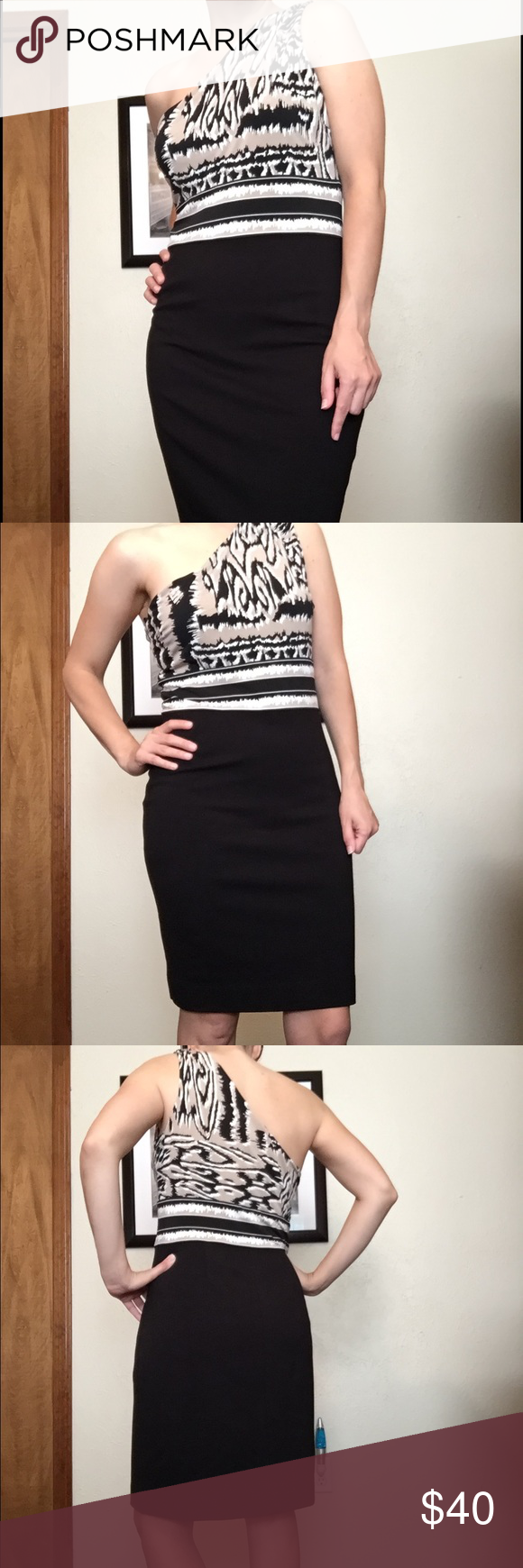 BCBG dress Very classic one shoulder fitted dress with beautiful body hugging design. Decently fitted around lower body but not too tight. Worn once to reception. No stains, smells, wear. Dry cleaned. Very flattering on anyone. I was about 8-10 size and this fit great. Mercari for less! Just dropped price by $7 on PM! BCBGMaxAzria Dresses One Shoulder