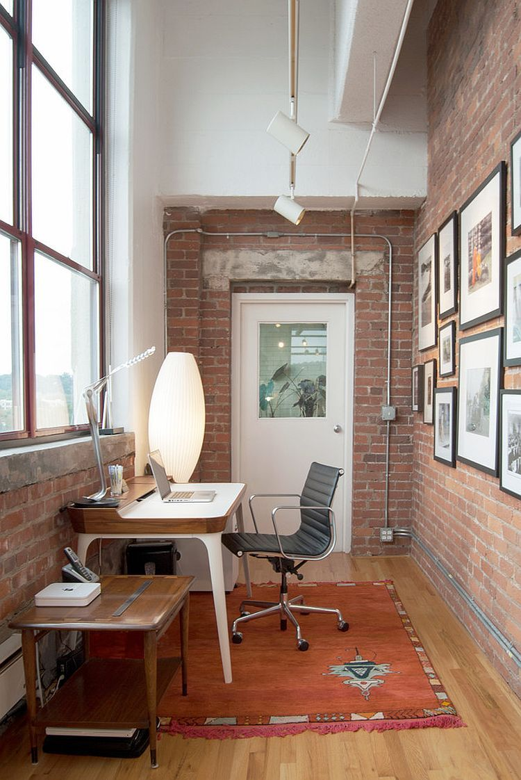 Trendy Textural Beauty 25 Home Offices With Brick Walls Industrial Home Offices Home Office Decor Small Home Office