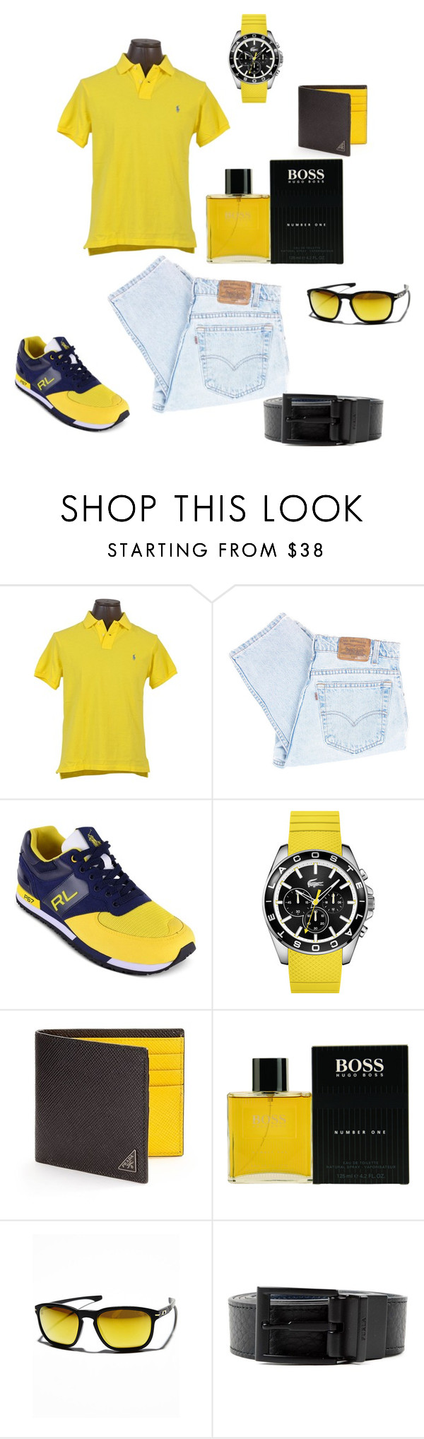 """""""Mello Yellow!"""" by whatsyourswagg ❤ liked on Polyvore featuring Polo Ralph Lauren, Levi's, Lacoste, Prada, HUGO, Oakley, Furla, men's fashion and menswear"""