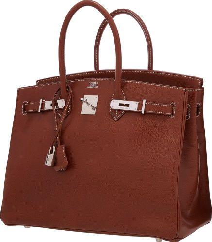 Hermes 35cm Noisette Veau Graine Lisse Leather Birkin Bag withPalladium Hardware .