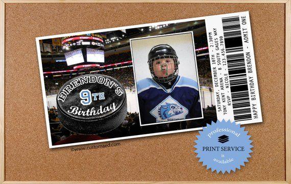 Hockey Birthday Invitations Personalized With Photo Printable