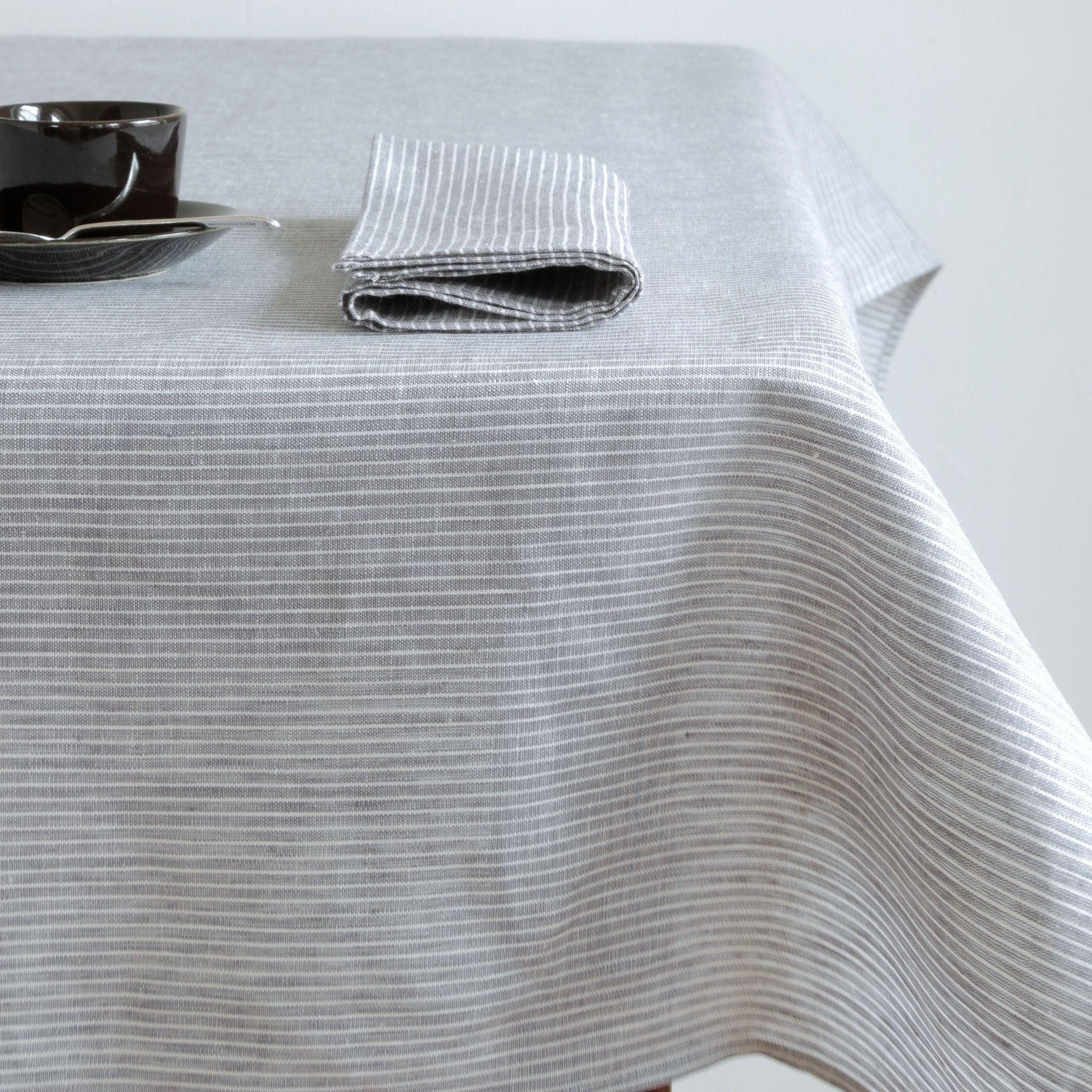 Elegant Tablecloth: Grey White Thin Stripe