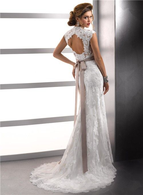 open back lace wedding dresses david\'s bridal | ... Cap Sleeves ...