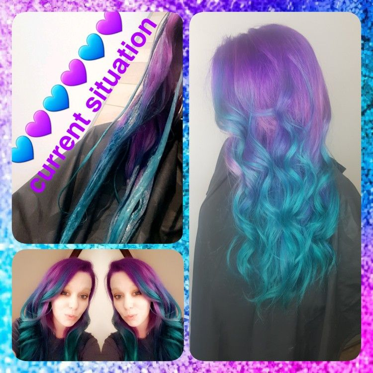 Purple And Custom Blue Done By Kristina Vernon At Vintage Hair