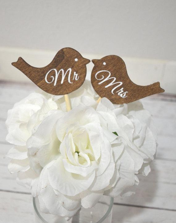 Wedding Mr and Mrs love birds cake topper