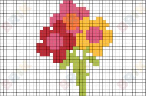 Flowers Pixel Art  Graph Paper Art    Graph Paper Art