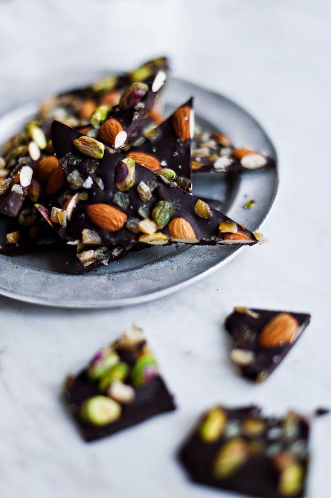 Life Love Food: Salt-Kissed Dark Chocolate Bark with Candied Orange, Almonds and Pistachios