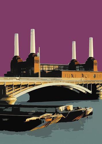 New London POP Artwork - POP Power - Battersea Power Station http://www.bigfatarts.com/ POP Power - Blue Grey/PURPLE
