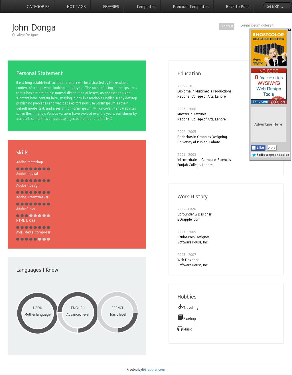 Responsive Resume Template Built Using Twitter Bootstrap 3 ...
