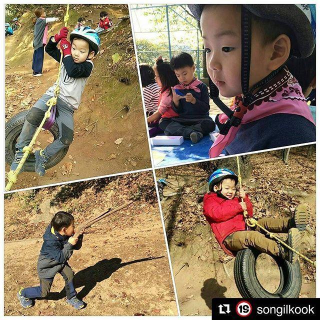 #Repost @songilkook ・・・ 숲유치원 선생님이 찍어주신 밍토리~^^ 타이어 타고 노는 걸 특히 좋아한다고 하네요. ... #DaehanMingukManse