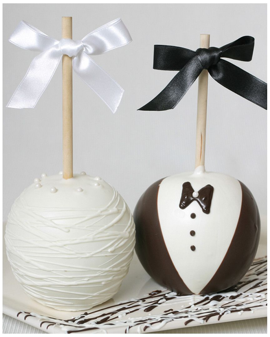 Golden Edibles Bride & Groom All-Belgian Chocolate Covered Apples ...