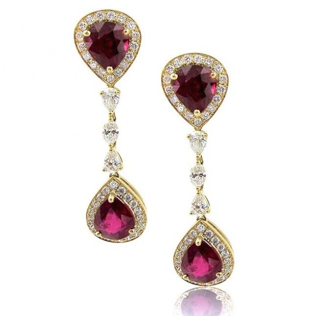 Yellow Gold Pear Cut Ruby Earrings With Round Marquise And Diamonds 18k