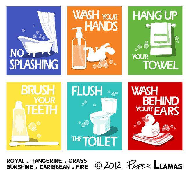 childrens bathroom art prints wash behind your ears custom colors bathroom word art