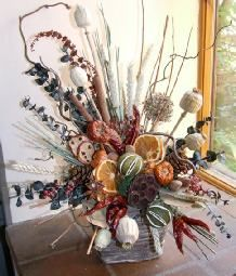 Dried Flower Arrangements Fireplace Sideboard Candle Large