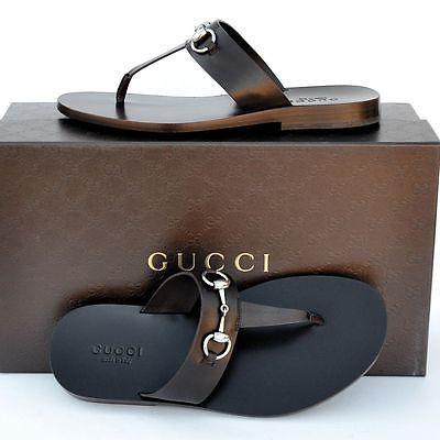 GUCCI New sz 10 - US 10.5 Auth Mens Horsebit Leather Shoes Sandals Flops brown