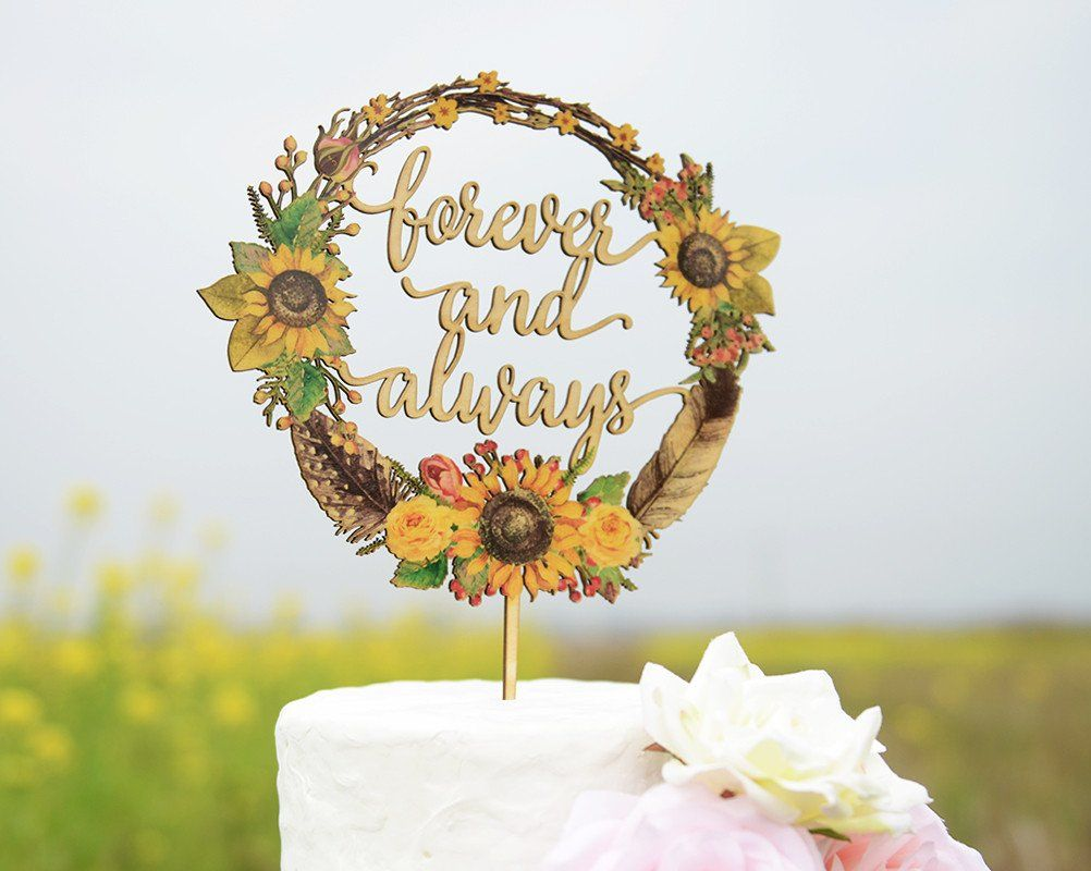 Personalized wedding cake topper made of wood and printed with