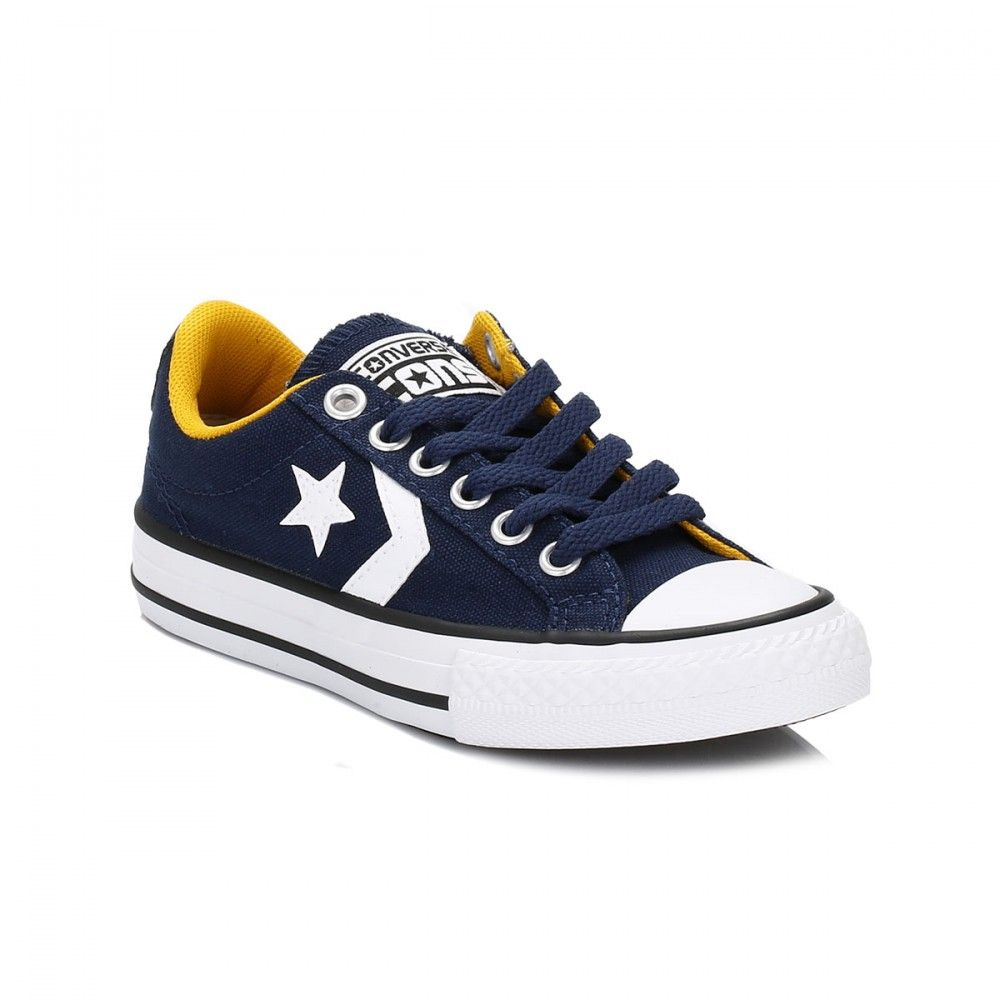 4e18d504e468 Converse Cons Kids Navy   Yellow Star Player Trainers