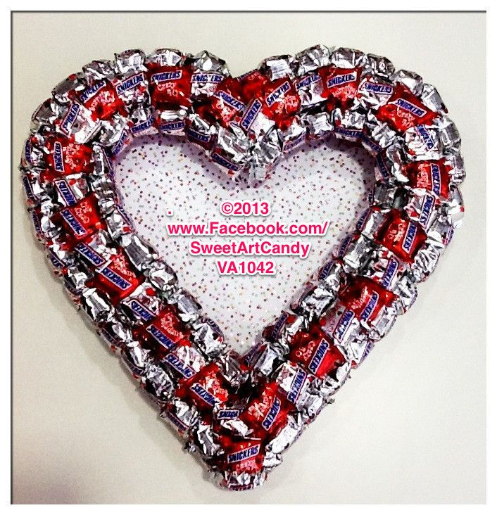 Va1042 silver and red snickers heart Candy gifts, Candy